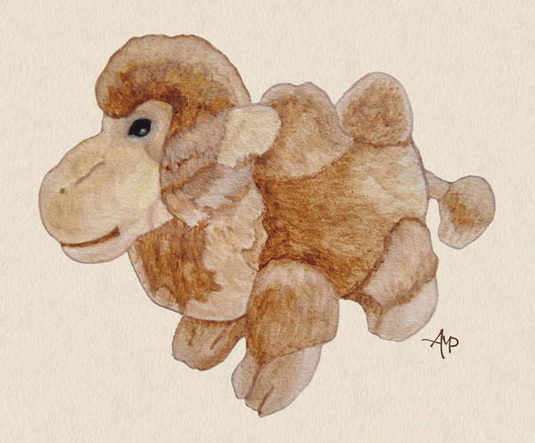 Painting - Cuddly Camel Watercolor by Angeles M Pomata