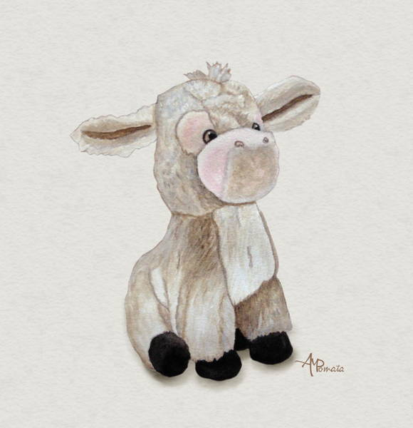 Painting - Cuddly Donkey Watercolor by Angeles M Pomata