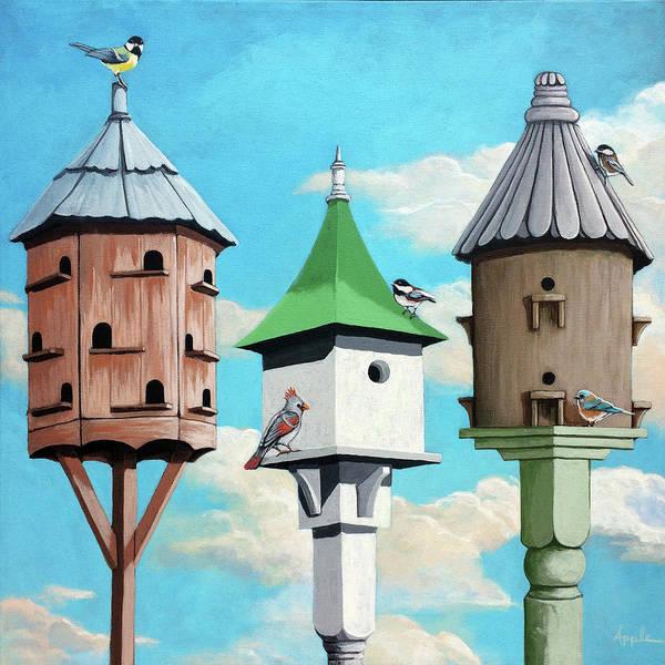 Birdhouse Painting - Cul De Sac - Wildlife Oil Painting by Linda Apple