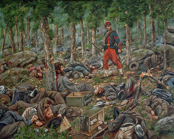 Wall Art - Painting - Culp's Hill Requiem - Corporal Charles Teasdale, 14th Brooklyn On Culp's Hill -  July 4th 1863 by Mark Maritato