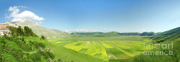 Photograph - cultivated fields of Pian Prande of Castelluccio di Norcia Perugia by Luca Lorenzelli