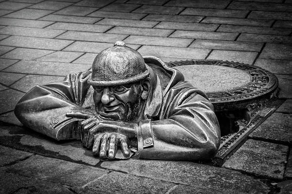 Men At Work Wall Art - Photograph - Cumil The Peeper Man At Work In Bratislava In Black And White by Carol Japp