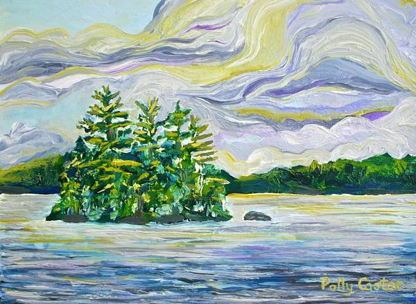 Painting - Cumulous Clouds Over Cherry Island by Polly Castor