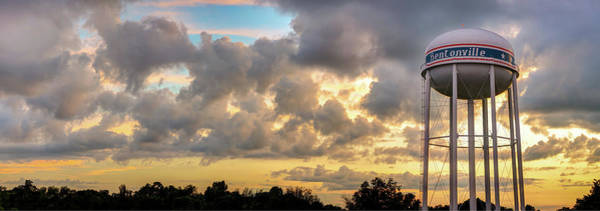 Photograph - Cumulus Evening Skyline And Bentonville Arkansas City Water Tower Panorama by Gregory Ballos