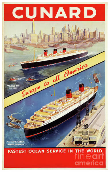 European Vacation Mixed Media - Cunard Vintage Travel Poster Restored by Vintage Treasure