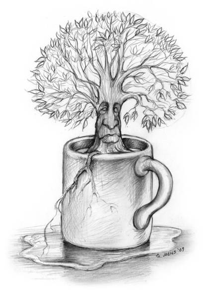 Pencil Drawing - Cup-o-tree by Greg Joens
