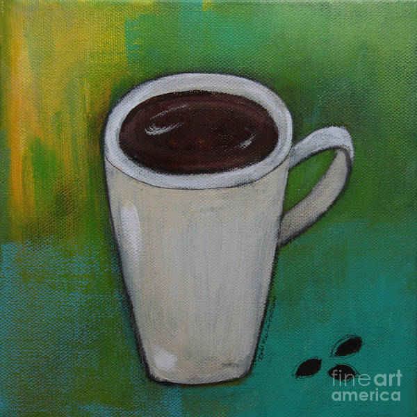 Painting - Cup Of Coffee And Coffee Beans by Robin Maria Pedrero