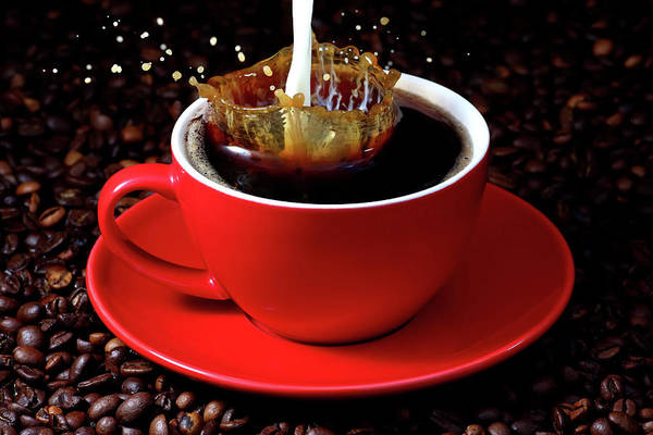 Coffee Mug Photograph - Cup Of Coffee With Splash by Pics For Merch