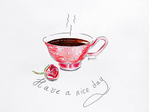 Have A Nice Day Painting - Cup Of Tea by Viktoryia Lavtsevich