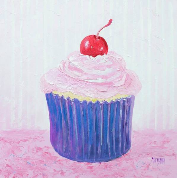 Icing Painting - Cupcake With Cherry On Top by Jan Matson