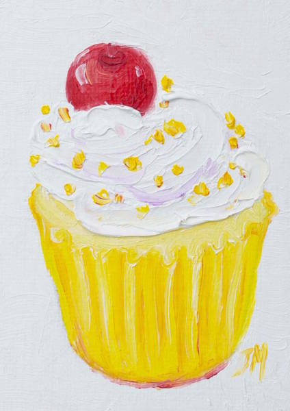 Icing Painting - Cupcake With Vanilla Frosting And Cherry Painting by Jan Matson