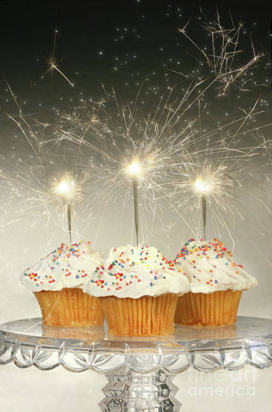 Wall Art - Photograph - Cupcakes With Sparklers by Sandra Cunningham
