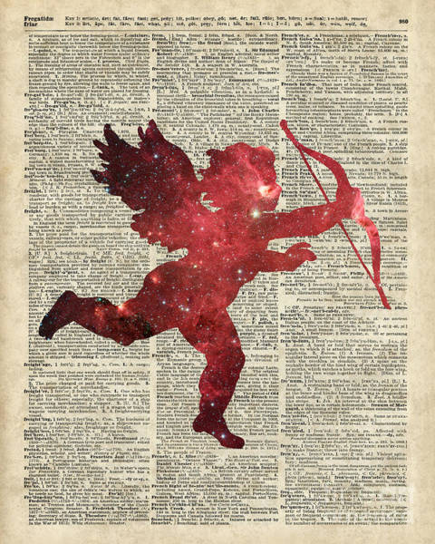 Wall Art - Painting - Cupid Amor Space And Stars Digital Collage Dictionary Art by Anna W