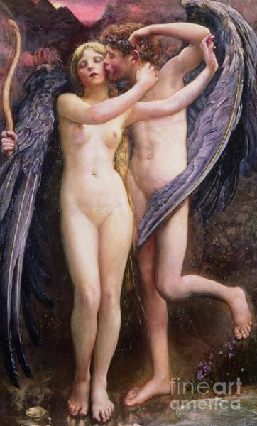 Wall Art - Painting - Cupid And Psyche by Annie Louisa Swynnerton