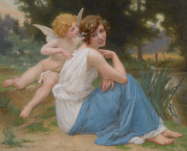 Allegory Wall Art - Painting - Cupid And Psyche by Guillaume Seignac