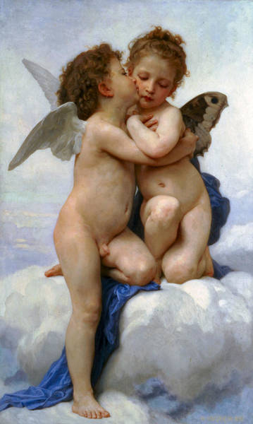 Painting - Cupid And Pysche As Children 1889 by William Bouguereau Presented by Joy of Life Art