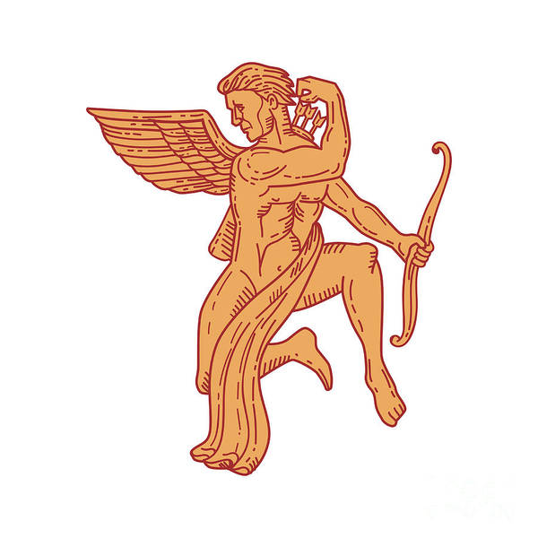 Wall Art - Digital Art - Cupid Bow Drawing Arrow Mono Line by Aloysius Patrimonio