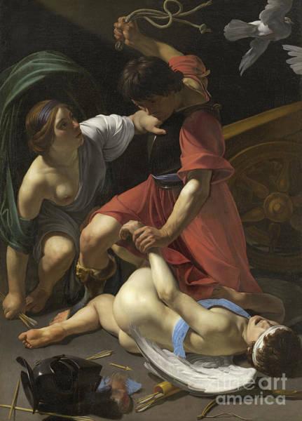 Bottom Painting - Cupid Chastised by Bartolomeo Manfredi