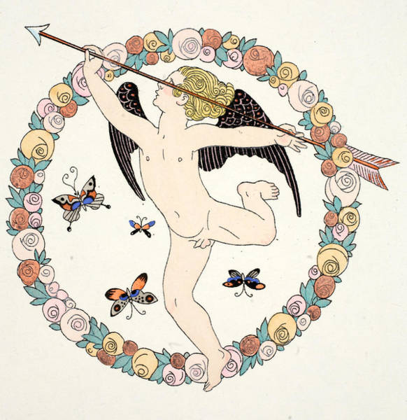 Flirting Drawing - Cupid by Georges Barbier