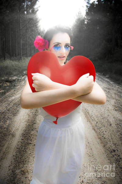 Sentimentality Photograph - Cupid Hugging Love Heart Balloon by Jorgo Photography - Wall Art Gallery