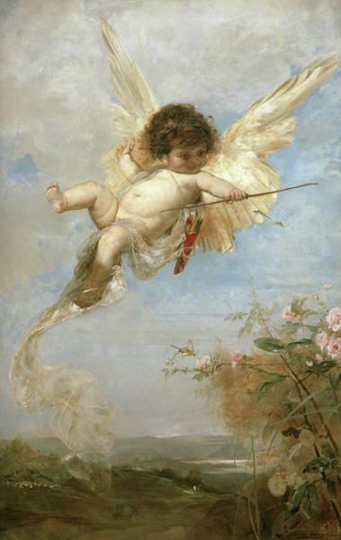Ermine Wall Art - Painting - Cupid by Julius Kronberg