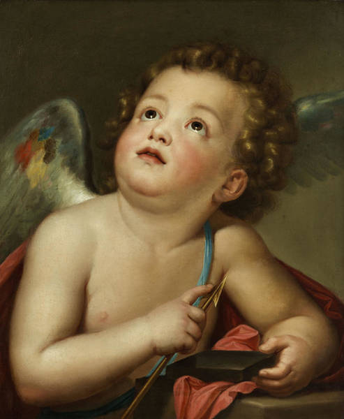 Wall Art - Painting - Cupid Sharpening His Arrow by Anton Raphael Mengs