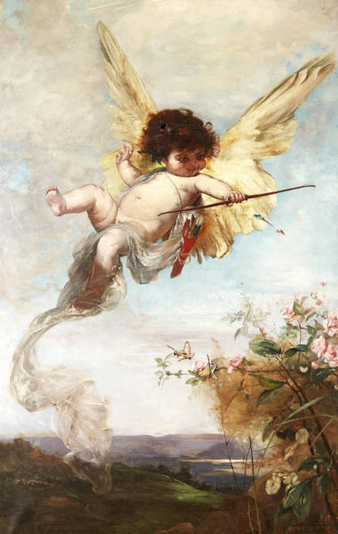 Swedish Painters Wall Art - Painting - Cupid With A Bow by Julius Kronberg