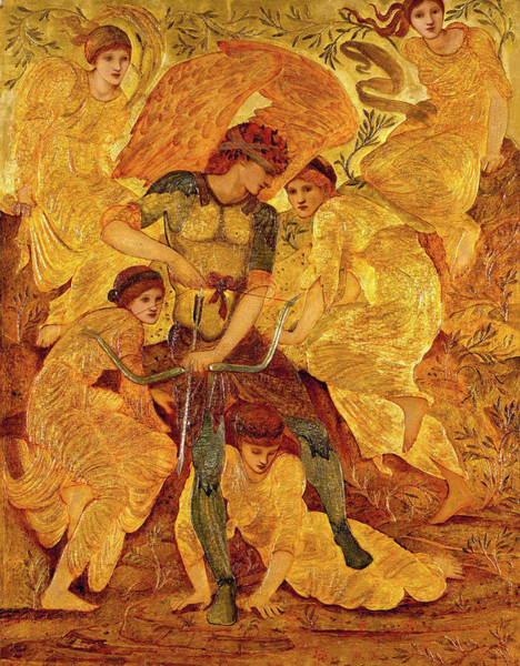 Pre-raphaelite Brotherhood Painting - Cupid's Hunting Fields by Sir Edward Coley Burne-Jones