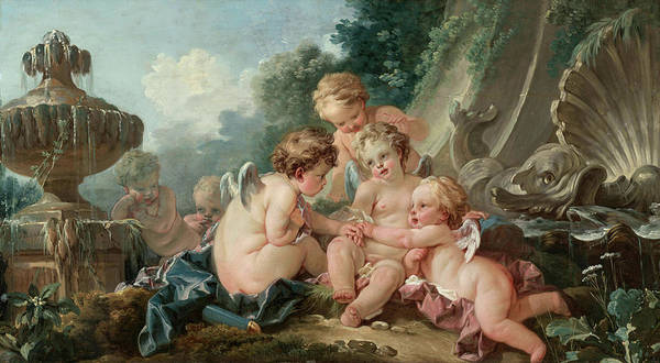 Francois Boucher Painting - Cupids In Conspiracy by Francois Boucher