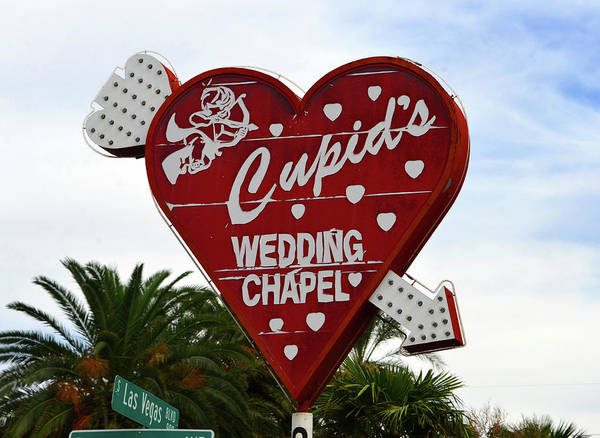 Wall Art - Photograph - Cupid's Wedding Chapel Sign Las Vegas by David Lee Thompson