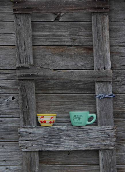 Ladders Photograph - Cups On A Ladder by Twenty Two North Photography