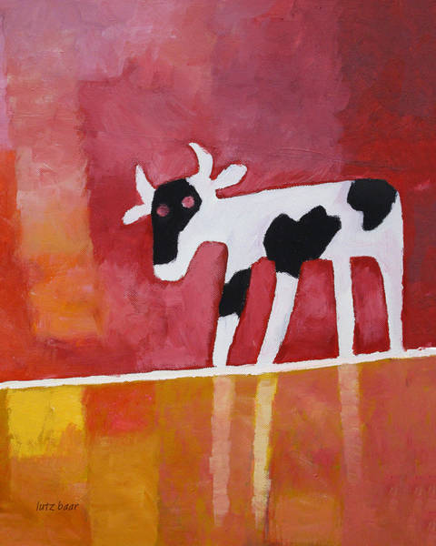 Painting - Curious Calf by Lutz Baar