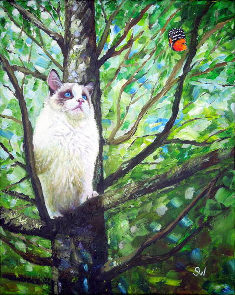 Painting - Curious Cat by Shirley Wellstead
