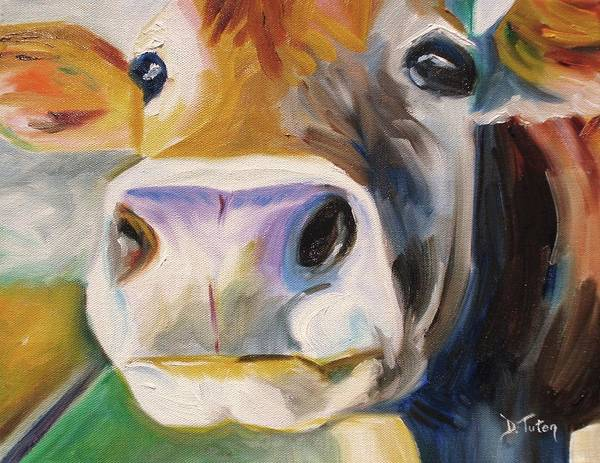 Barnyard Animal Painting - Curious Cow by Donna Tuten