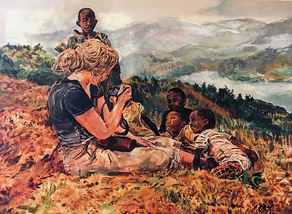 Wall Art - Painting - Africa, Children And Curiosity  by Kathy Hauge