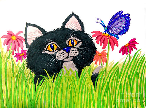 Kitten Drawing - Curious Kitten And Butterfly by Nick Gustafson