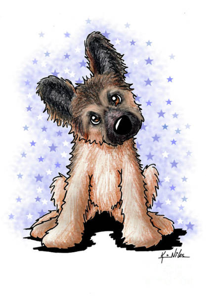 Wall Art - Drawing - Curious Shepherd Puppy by Kim Niles