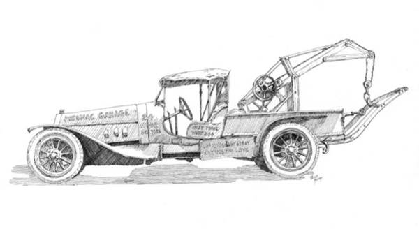 Old Truck Drawing - Curious Wrecker by David King