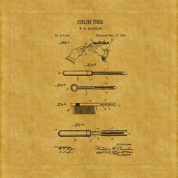 Photograph - Curling Tong Patent 1889 by Andrew Fare