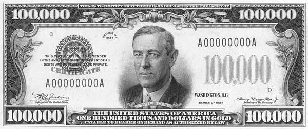 Democratic Party Photograph - Currency: 100,000 Dollar Bill by Granger