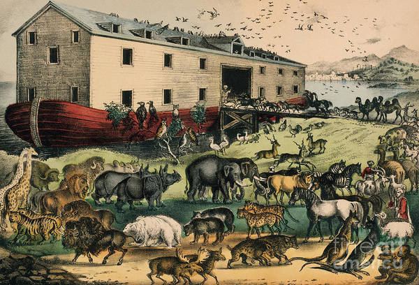 Noahs Ark Wall Art - Drawing - Currier And Ives by Currier and Ives