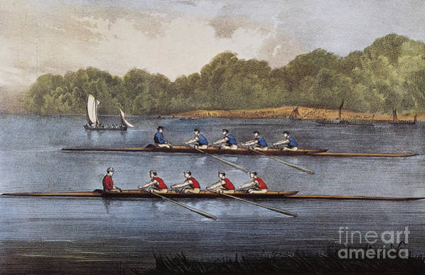 Rowing Photograph - Currier & Ives: Rowing Contest by Granger