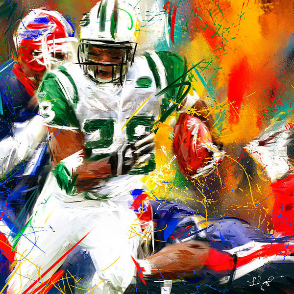 New York Jets Wall Art - Painting - Curtis Martin New York Jets by Lourry Legarde