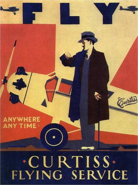 Wall Art - Photograph - Curtiss Flying Service - Art Deco Poster - Vintage Advertising Poster  by Studio Grafiikka