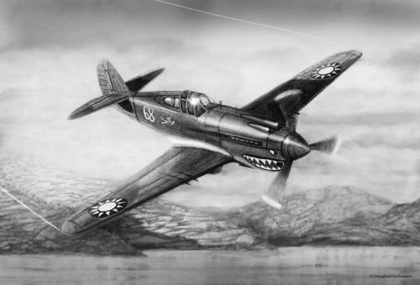 Drawing - Curtiss P-40b Flying Tiger by Douglas Castleman