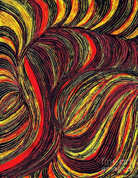 Oil Pastels Drawing - Curved Lines 3 by Sarah Loft