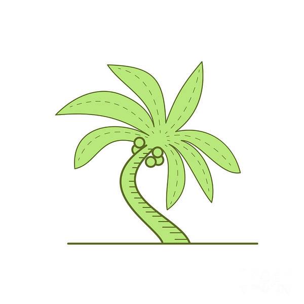 Flowering Trees Digital Art - Curved Palm Tree Mono Line by Aloysius Patrimonio