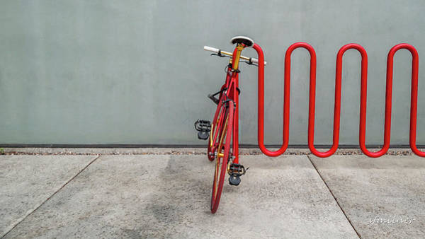 Photograph - Curved Rack In Red - Urban Parking Stalls by Steven Milner