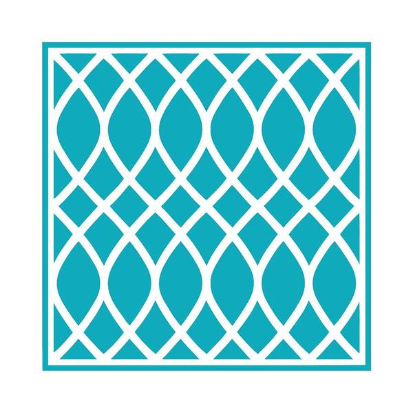 Robin's Egg Blue Digital Art - Curved Trellis With Border In Robin's Egg Blue by Custom Home Fashions