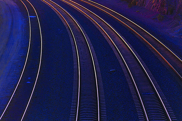 Last Photograph - Curving Railroad Tracks by Garry Gay